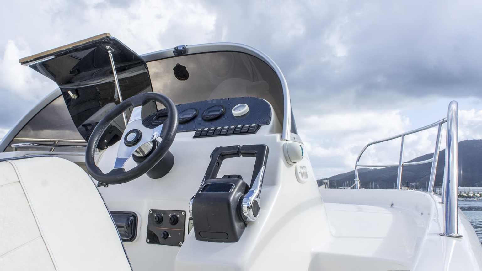 Drivers section of boat