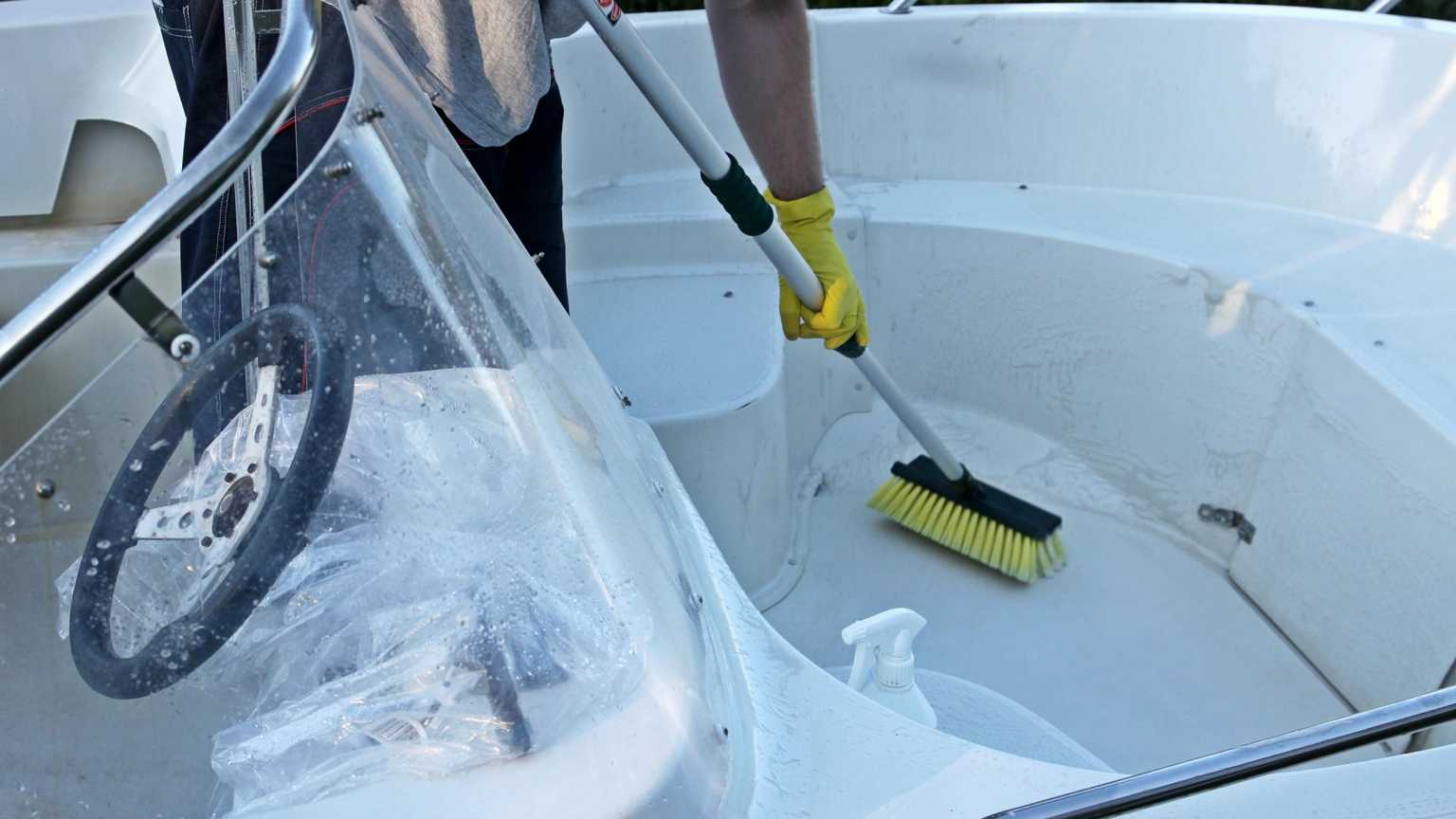 Cleaning a boat